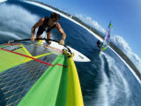 High Angle View of a Man Windsurfing Photographic Print