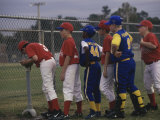 Side Profile of a Group of Boys on a Baseball Team Standing in a Row Photographic Print