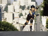 Woman Rollerblading Uphill Photographic Print