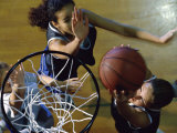 High Angle View of Teenage Girls Playing Basketball Lámina fotográfica