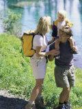 Family Hiking by a Pond Fotografisk trykk