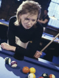 Woman at a Pool Table Photographic Print