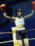 Young Woman Standing in a Boxing Ring Photographic Print