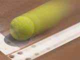 Blurred Image of a Tennis Ball Landing In Bounds Lámina fotográfica