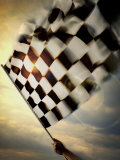 Person's Hand Waving a Checkered Flag Photographic Print