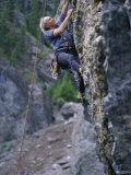 Senior Man Rock Climbing Fotoprint