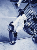 Monochromatic Image of a Skateboarder on a Ramp Photographic Print