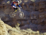 Airborne Bicyclist Photographic Print