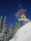 Airborne Snowboarder Photographic Print