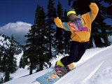 Snowboarder in Neon Colors Photographic Print