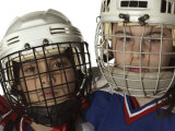 Portrait of Two Boys Wearing Protective Ice Hockey Gear Photographic Print