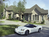 Home with a Sports Car Parked in Front Photographic Print