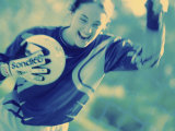 Female Goalie Holding a Soccer Ball Reproduction photographique