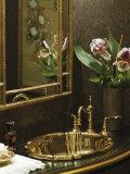 Brass Sink with Orchids Photographic Print