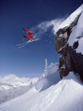 Airborne Skier in Red Papier Photo