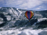 Colorful Hot Air Balloon in Winter Photographic Print