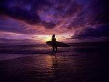 Surfer Silhouette at Sunset Fotografisk trykk