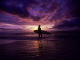 Surfer Silhouette at Sunset Photographic Print