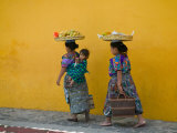 Women Carrying Basket on Head, Antigua, Guatemala Photographic Print by Keren Su