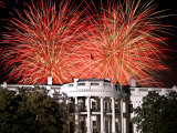 Fireworks Explode Over the White House Photographic Print