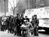 Men Line up in Front of City Hall to Apply for Jobs Photographic Print