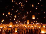 Hundreds of Lanterns are Released During a Memorial Service Photographic Print
