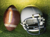 American Football Helmet and a Football Fotografisk trykk