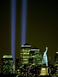 Two Beams of Light Light up the Sky Above Manhattan from Near the Site of the World Trade Center Photographic Print