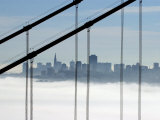 The San Francisco Skyline is Seen Through the Golden Gate Bridge on a Foggy Morning Photographic Print