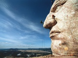 Workers Continue Work on Crazy Horse, Photographic Print