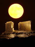 The Full Moon Rises Behind the Ancient Temple of Posseidon Photographic Print