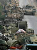 Israeli Soldiers Sleep on Top of Their Armored Vehicles Photographic Print