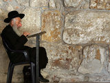 An Elderly Ultra-Orthodox Jew Prays at the Western Wall Plaza Photographic Print