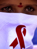 A Sex Worker Looks on During an Aids Awareness Rally on World Aids Day Lmina fotogrfica
