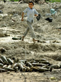 An Iraqi Schoolboy Walks Past a Pile of Unexploded Mortar Rounds in a Field in Basra, Iraq Photographic Print