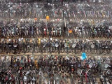 Chinese Conmuters&#39; Bikes are Lined up Photographic Print