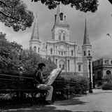 An Artist Sketches St. Louis Cathedral Photographic Print