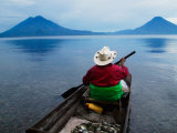 Man on Canoe in Lake Atitlan, Volcanoes of Toliman and San Pedro Pana Behind, Guatemala Photographic Print by Keren Su