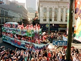 Mardi Gras Revellers Greet a Float from the Zulu Parade Photographic Print