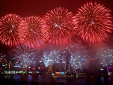 Fireworks Explode Over Hong Kong's Victoria Harbor Photographic Print