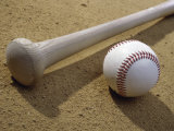 Close-up of a Baseball Bat and a Baseball Photographic Print