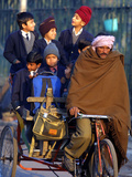 Indian Children Ride to School on the Back of a Cycle Rickshaw Photographic Print