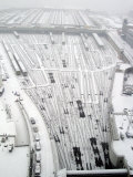 Snow Covers the Railroad Tracks at the Westside Railyard as Snow Falls on New York Photographic Print