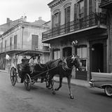 Tourists Take in the Scenery Via Horse-Drawn Carriage on Royal Street in New Orleans Fotografie-Druck