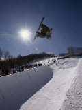 Snowboarder with Sunburst Lmina fotogrfica
