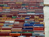 Freight Containers are Lined up Outside the Port of Piraeus, Near Athens Photographic Print
