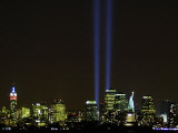 Two Beams of Light Light up the Sky Above Manhattan Photographic Print