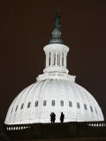 Security Agents Stand Watch on the Roof of the U.S. Capitol Photographic Print