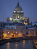 St. Isaac's Cathedral Rises Above the Moyka River in Downtown St. Petersburg, Russia, May 2006. Photographic Print