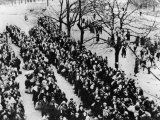 Men and Women of the Nazi Occupied Districts of Poland, Russia and France are Herded Together Photographic Print